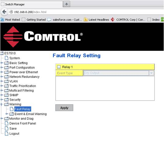 Fault Relay Setting
