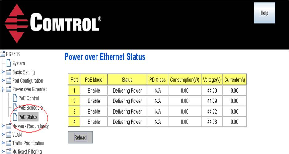 Power over Ethernet Status