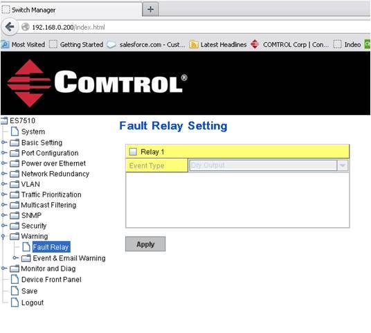Fault Relay Screenshot