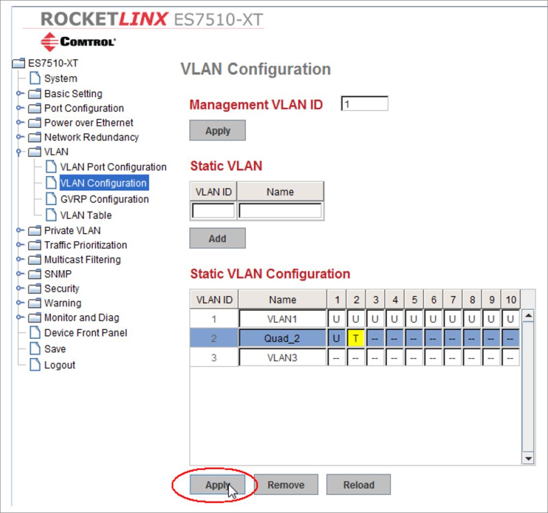Apply VLAN Configuration